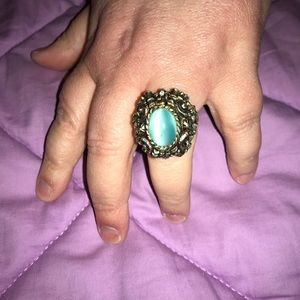 Vintage Gold and Moonstone Sarah Coventry Ring